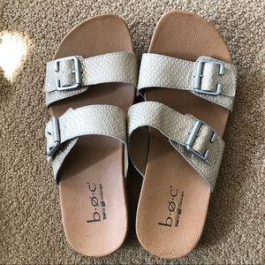 b.o.c. Silver Python Buckle Sandals